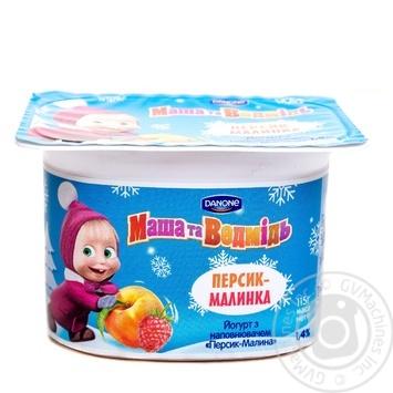 Йогурт Данон Маша и Медведь Персик-Малина 1,4% 115г