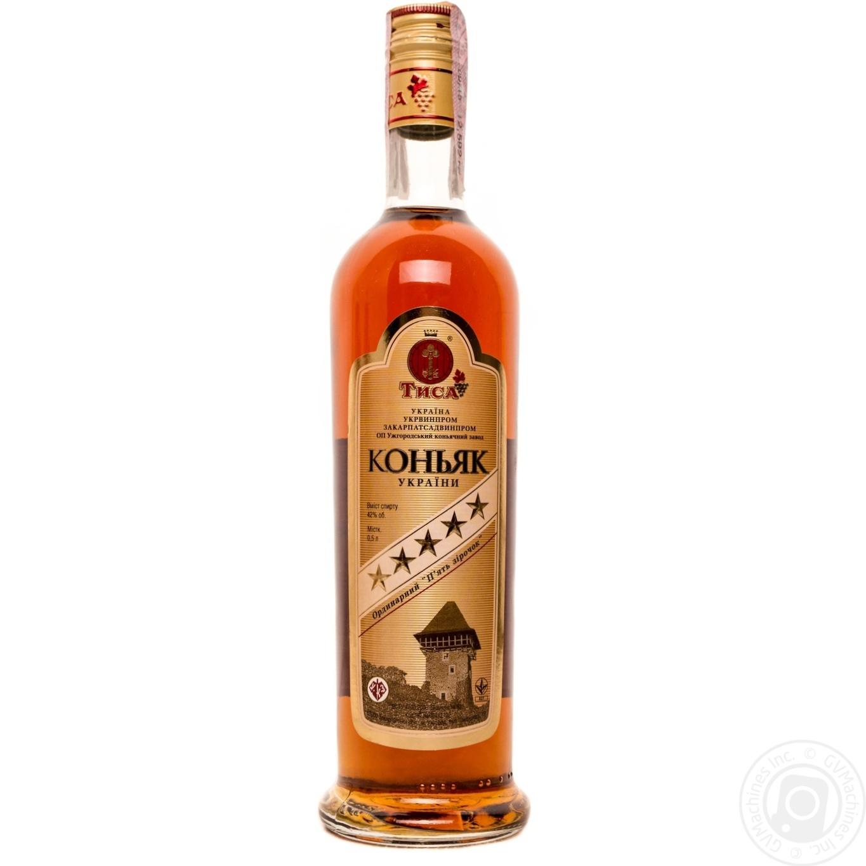Cognac tisa zakarpatskyy 40 5yrs 500ml glass bottle for Cognac auchan