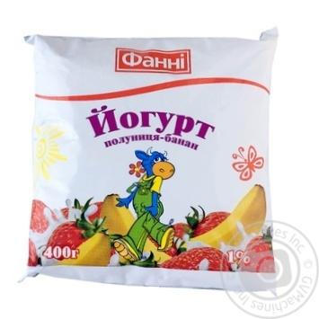 """Скидка на Йогурт питний ТМ""""Фанні""""полуниця 1%банан плівка 400г"""