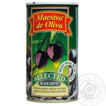 Маслины Маэстро де Олива черные с косточкой 360г