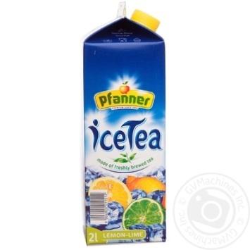 Напиток Пфаннер Холодный Чай со вкусом Лимон-Лайм безалкогольный негазированный 2000мл тетрапакет Австрия