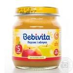 Пюре фруктовое Бебивита Персик-Яблоко без сахара с витамином С для детей с 5 месяцев 100г