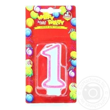 Свічка для торту Помічниця Веселе свято Цифра один - купити, ціни на Метро - фото 1