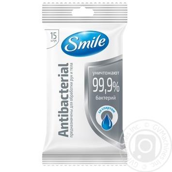 Серветки вологі Smile Antibacterial 15шт в асортименті - купити, ціни на МегаМаркет - фото 2