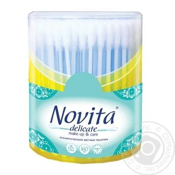 Палички ватні Novita Delicate круглiй банці 160шт - купити, ціни на МегаМаркет - фото 2