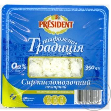 Сир кисломолочний President Творожна традиція нежирний 0,2% 350г
