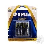 Батарейка алкалайн ААA GOLD+ LR03/1.5V бл/4шт TESLA