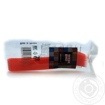 Виделки пластикові склоподібні червоні ВІКЕНД 10 шт