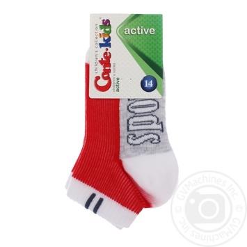 Шкарпетки дит. ACTIVE 13С-34СП р.14 309 білий-червоний х6 - купить, цены на МегаМаркет - фото 1