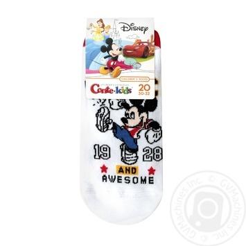 Носки Conte-kids Disney детские ультракороткие белые 20р