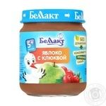 Puree Bellakt apple cranberry sterilized for children from 5 months 100g glass bottle