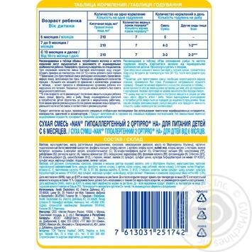 Смесь молочная Нестле Нан 2 Гипоаллергенный сухая для детей с 6 месяцев 400г - купить, цены на Ашан - фото 3