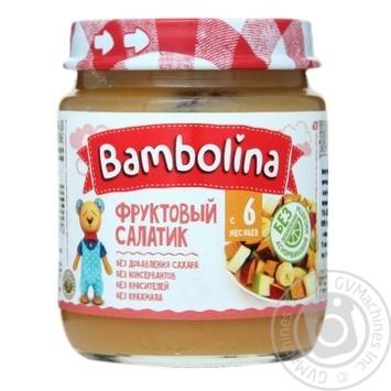 Пюре Bambolina фруктовый салат банан груша персик 100г - купить, цены на Фуршет - фото 1
