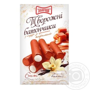 Творожные батончики Злагода глазированные с ароматом карамели и ванили 6шт 23% 120г
