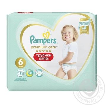 Трусики Pampers Premium Care 15+ кг 6 Extra large 31шт - купить, цены на Фуршет - фото 2