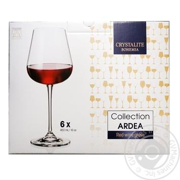 Набір келихів Crystalite Bohemia Ardea для вина 450мл 6шт