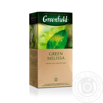 Чай Гринфилд Грин Мелисса зеленый с мелиссой и ароматом мяты и лимона 1,5г х 25шт - купить, цены на Ашан - фото 2