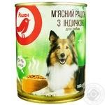 М'ясний раціон Ашан з індичкою для собак 360г