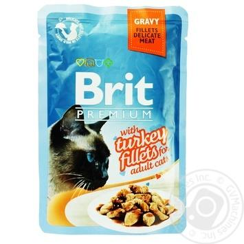 Корм консервированный Brit Premium с филе индейки в соусе 85г
