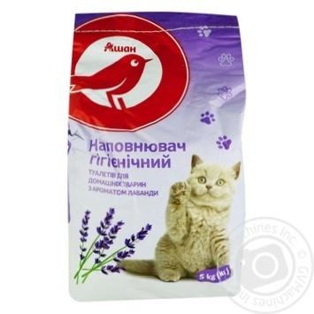 Наповнювач туалетів Ашан Лаванда для тварин гігієнічний 5кг - купити, ціни на Ашан - фото 1