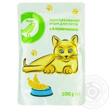 Корм Auchan для котов с говядиной консервированый 100г
