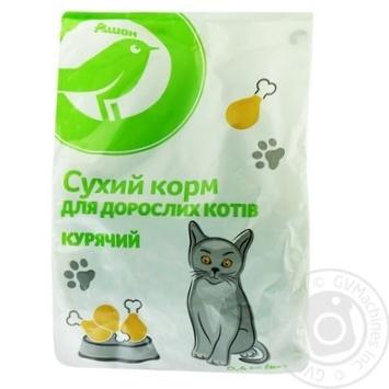 Сухий корм Ашан для дорослих котів курячий 400г - купить, цены на Ашан - фото 1