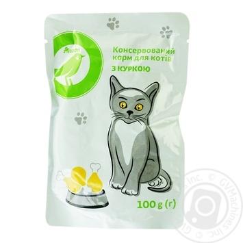Корм Auchan для котов куриный консервированый 100г