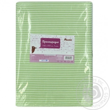 Auchan Green Bedsheet 210x200cm - buy, prices for Auchan - photo 1