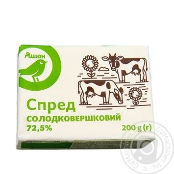 Спред Ашан солодковершковий 72,5% 200г