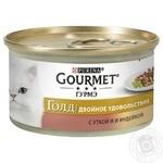 Корм GOURMET Gold Duo С уткой и индейкой для взрослых кошек 85г