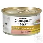Корм GOURMET Gold С лососем и курицей в подливке для взрослых кошек 85г