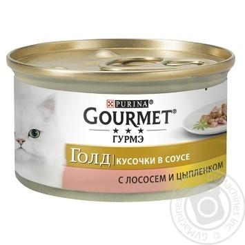 Корм GOURMET Gold С лососем и курицей в подливке для взрослых кошек 85г - купить, цены на Novus - фото 1