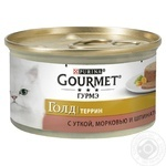 Gourmet for cats canned with duck, carrot and spinach in pate food 85g