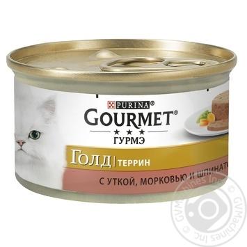 Корм GOURMET Gold С уткой морковью и шпинатом в паштете для взрослых кошек 85г - купить, цены на Novus - фото 1