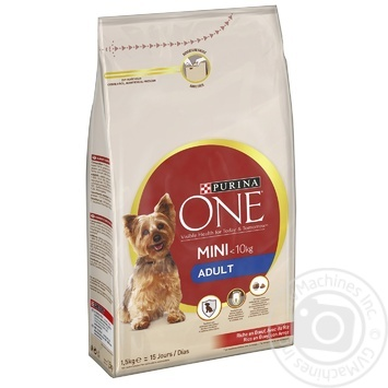 Корм сухой Purina ONE MINI Adult с говядиной и рисом для собак мелких пород 1,5кг
