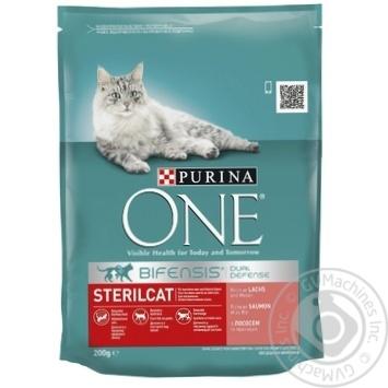 Корм сухой Purina ONE Sterilcat С лососем и пшеницей для кастрированных котов и стерилизованных кошек 200г