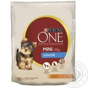 Корм сухой Purina ONE® MINI Junior с курицей и рисом для щенков мелких пород от 1 до 12 месяцев 800г