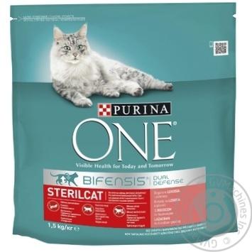 Корм сухой Purina ONE Sterilcat С лососем и пшеницей для кастрированных котов и стерилизованных кошек 1,5кг - купить, цены на Метро - фото 1