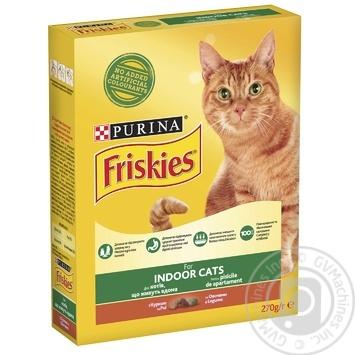 Корм сухой Friskies Indoor С курицей и садовой травой для взрослых котов 270г - купить, цены на Ашан - фото 1