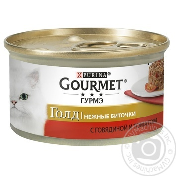 Gourmet for cats canned with beef and tomato food 85g - buy, prices for Tavria V - image 1