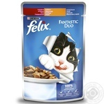 Felix Fantastic Duo with beef and poultry in jelly cat food 100g