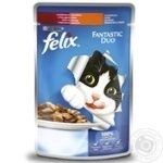 Корм для котов Felix Fantastic Duo с индейкой и печенью в желе 100г