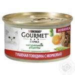 Корм Gourmet Натуральные рецепты Тушеная говядина с морковью для кошек 85г
