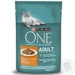Корм Purina One Adult с курицей и зеленой фасолью в соусе для котов 85г