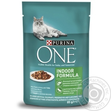 Purina One Indoor Formula Cat Food Tuna and Green Beans in Sauce 85g - buy, prices for EKO Market - photo 1