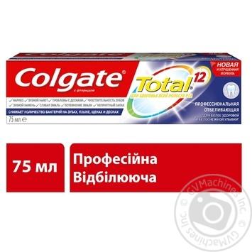 Зубная паста Colgate Total 12 Профессиональная Отбеливающая комплексная антибактериальная 75мл - купить, цены на Novus - фото 6