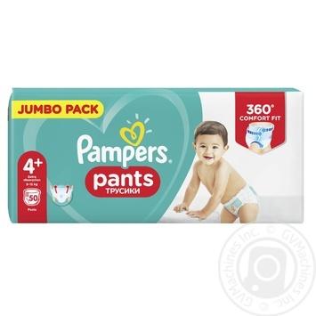 Підгузники-трусики Pampers Premium Maxi Plus 4+ 9-15кг 50шт - купити, ціни на Ашан - фото 2