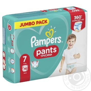 Підгузки-трусики Pampers Pants 7 (17+ кг) 40шт - купити, ціни на МегаМаркет - фото 1