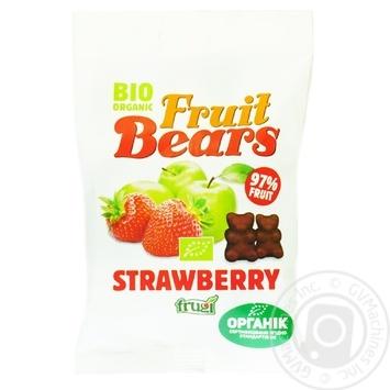 Жувальні цукерки Fruit Bears Яблуко-полуниця органічні 50г - купити, ціни на Ашан - фото 1