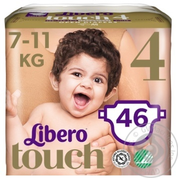 Libero Touch 4 diapers for children 7-11kg 46 pieces - buy, prices for MegaMarket - image 3